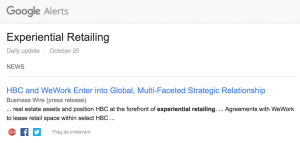 experiential retailing, google alert, in-store experience, customer experience,