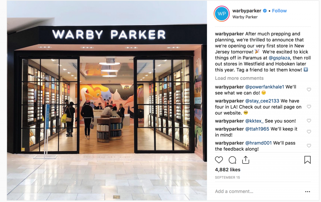 retail experience, customer experience, Warby Parker store